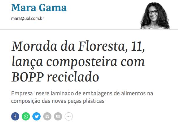 Morada da Floresta lança composteira com BOPP reciclado (Folha de São Paulo)