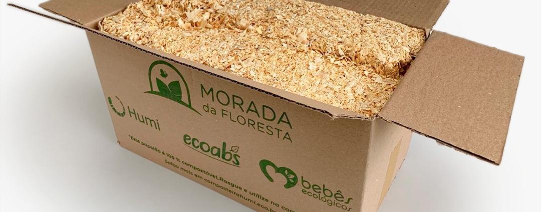 Kit com 4 pacotes de serragem para compostagem doméstica da Morada da Floresta