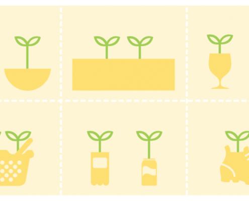 Desenho de plantas em recipientes